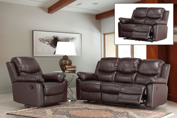 3 Piece Brown Bonded Leather Sofa Recliner Set