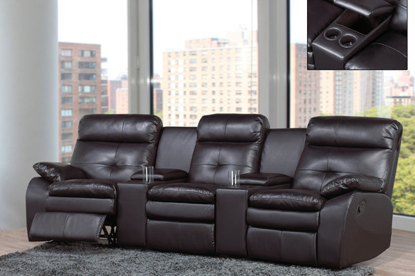 3 Seat Black Bonded Leather Sofa Recliner