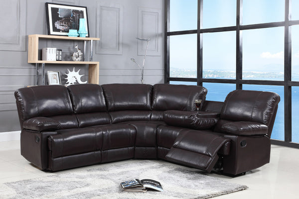 Air Leather Corner Reclining Sectional