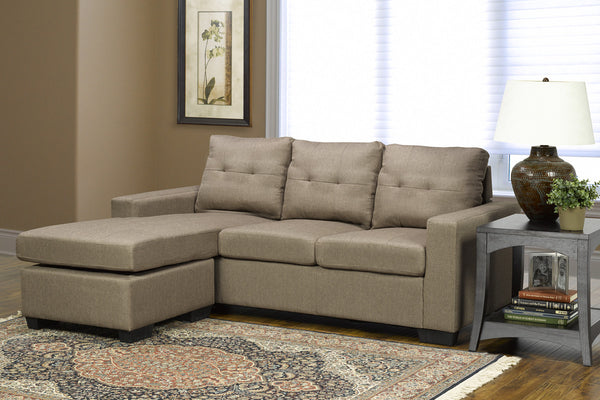 Brown Fabric Reversible Sofa Chaise
