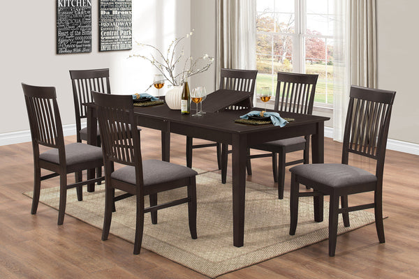7 Piece Adjustable Espresso Dining Set