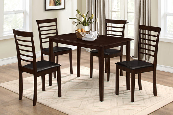 5 Piece Espresso Stripe Back Dining Set