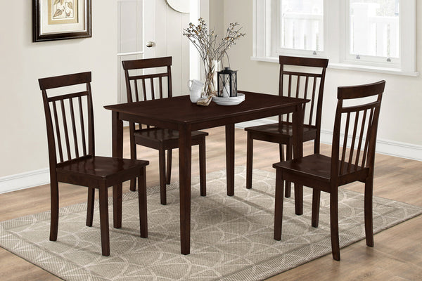 5 Piece Espresso Slat Back Dining Set