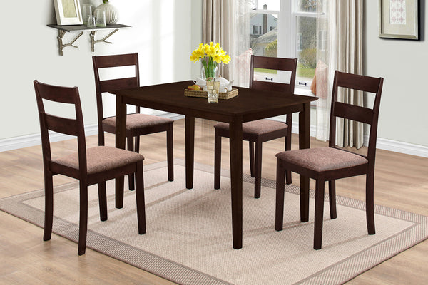 5 or 7 Piece Espresso Traditional Back Dining Set