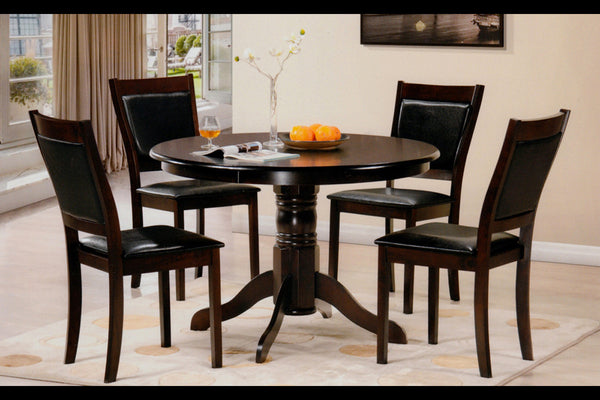 5 Piece Espresso Round Pedastal Table Dining Set