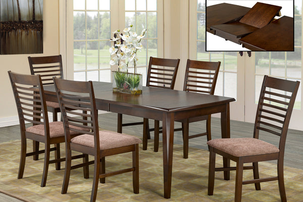 7 Piece Espresso Adjustable Table Dining Set 2
