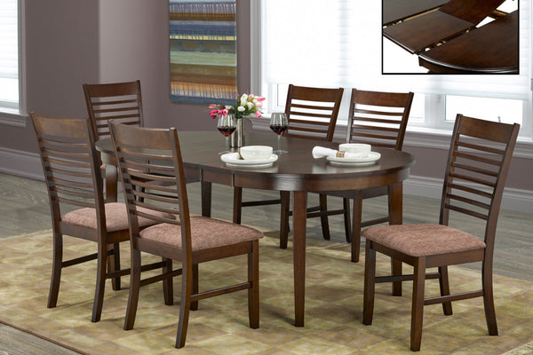 7 Piece Espresso Adjustable Table Dining Set 3
