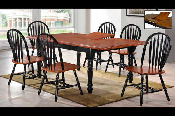 7 Piece Walnut Top Adjustable Table Dining Set 1