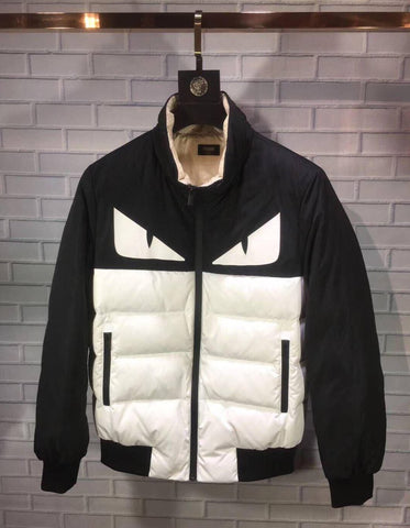 Men Top Quality Downcoat Parkas Black White Zipper New With Tags