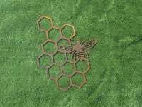 Bee and honeycomb metal wall art