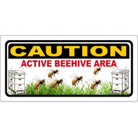 Caution Active beehives sign