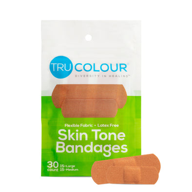 Tru-Colour Skin Tone Bandages: Olive-Moderate Brown Single Bag (30-Count; Green Bag)