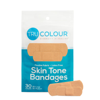 Tru-Colour Skin Tone Bandages Aqua 1 Bag (30-Count)