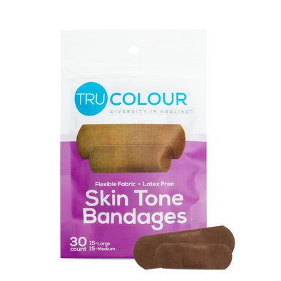 Tru-Colour Skin Tone Bandages: Dark Brown Single (30-Count; Purple Bag)