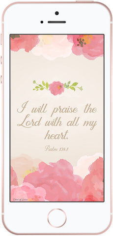 Psalm 138:1, Christian phone wallpaper, Scripture phone background