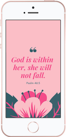 god is within her she will not fall psalm 46:5, scripture phone wallpapers