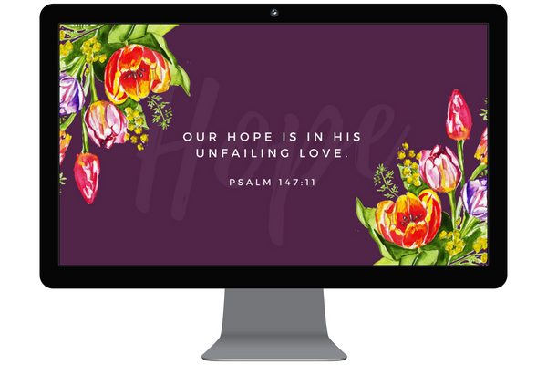 Scripture desktop background, Christian desktop wallpaper, Our hope is in his unfailing love, psalm 147:11