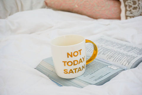 not today satan mug, be still and know, how to be still