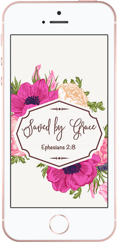 Free Christian phone background, Saved by Grace, Ephesians 2:8, Doses of Grace