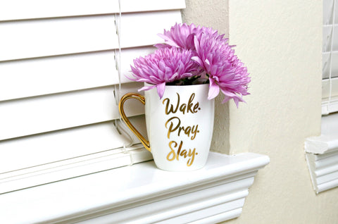 Wake pray slay mug, Christian coffee mug, Doses of Grace