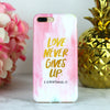 love never gives up 1 corinthians 13, scripture phone case