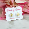 Pearl Cross Stud Earrings | Gold