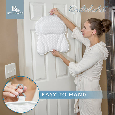 luxury bath pillow easy storage hook