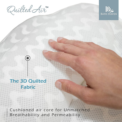luxury bath pillow quilted air mesh