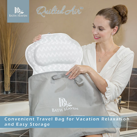 luxury bath pillow travel bag