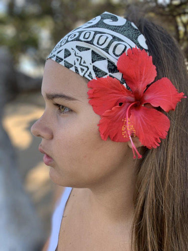 Gray and White Tattoo-Headwrap-KaheleMaui