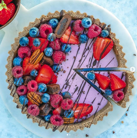 Salted Almond Healthy Blueberry Cheesecake