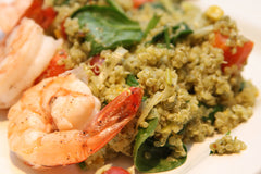 Garlic Shrimp with Spinach and Pesto Quinoa