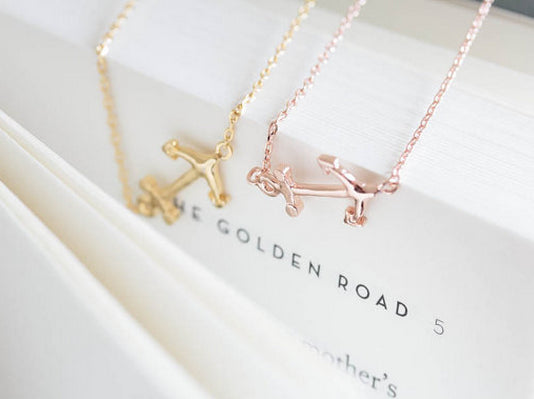 Gold-Plated Anchor Necklace - StyleBun