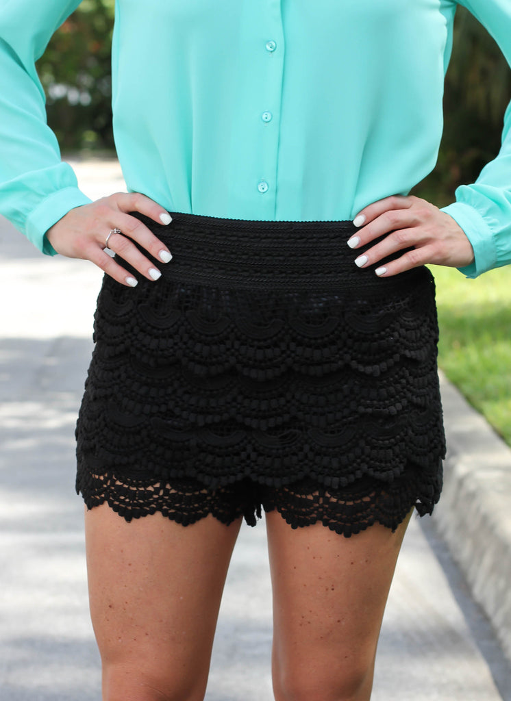 Crochet Lace Shorts - Black