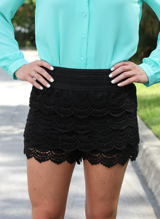 Crochet Lace Shorts - Black - StyleBun