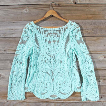 Crochet Lace Blouse - Blue - StyleBun