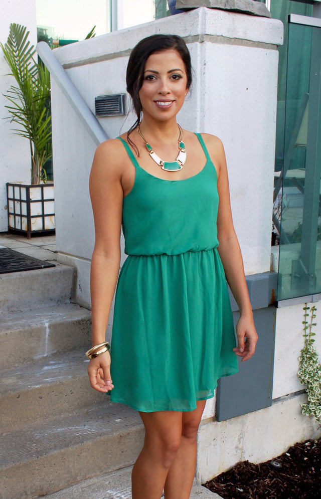 Emerald Green Chiffon Dress - StyleBun