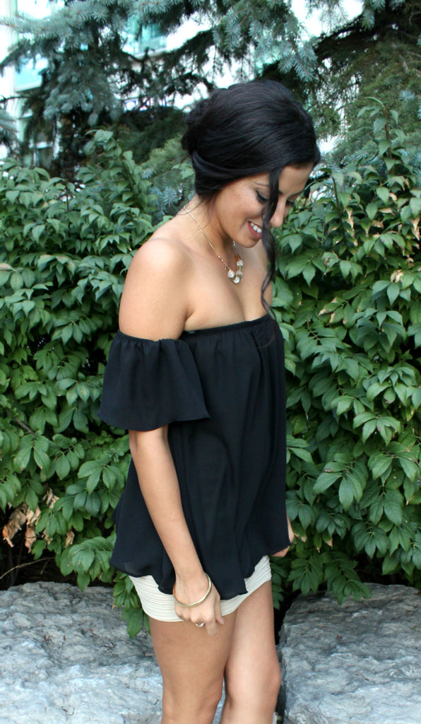 Chiffon Off Shoulder Blouse - Black