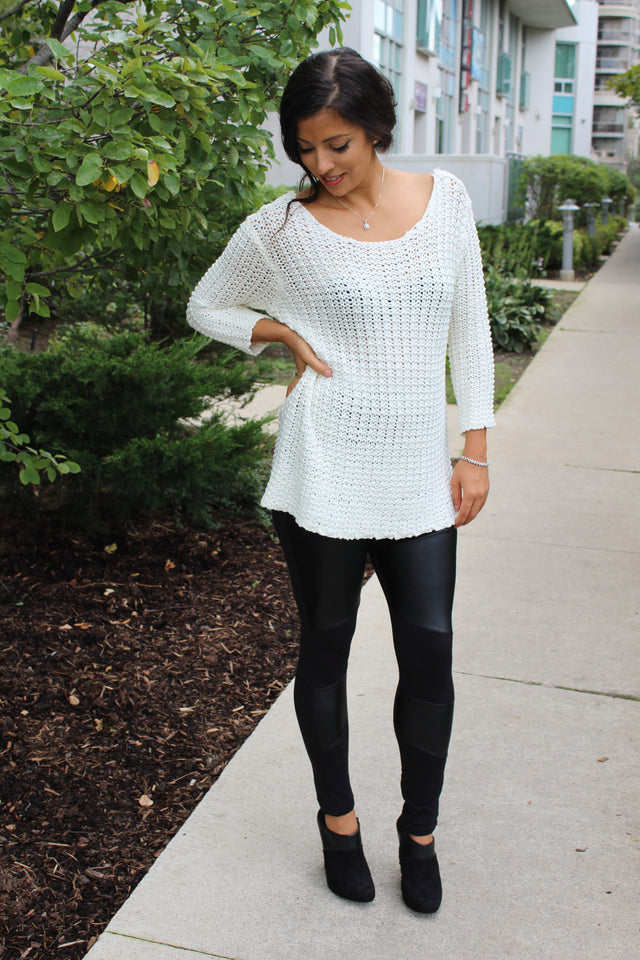Comfy White Knit Sweater - StyleBun