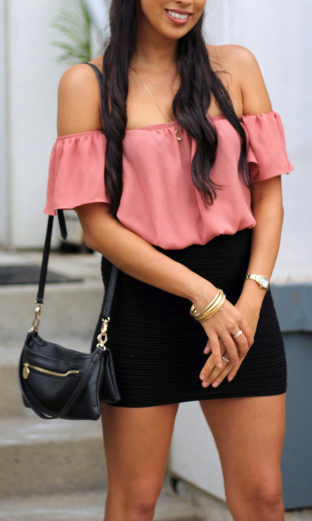 Chiffon Off Shoulder Blouse - Coral - StyleBun
