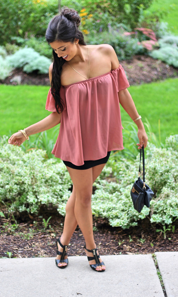 Chiffon Off Shoulder Blouse - Black - StyleBun