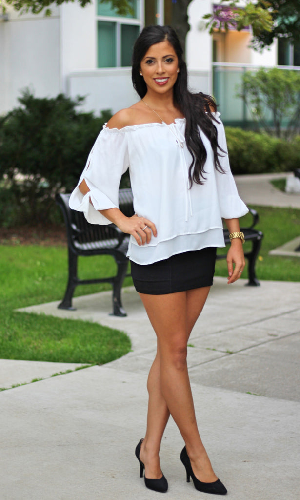 Chiffon Off Shoulder Blouse - White - StyleBun