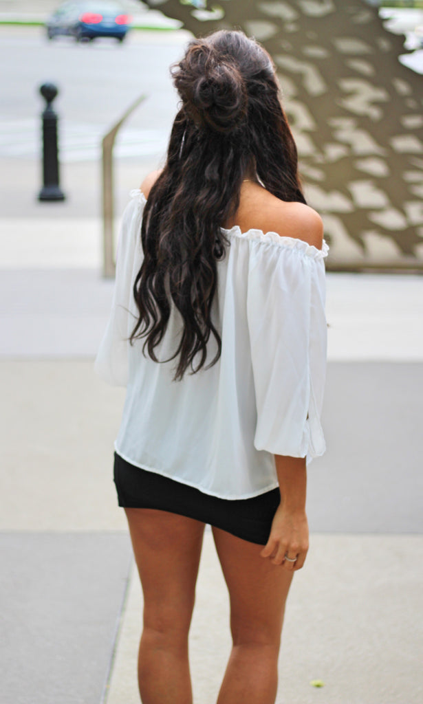 Chiffon Off Shoulder Blouse - White