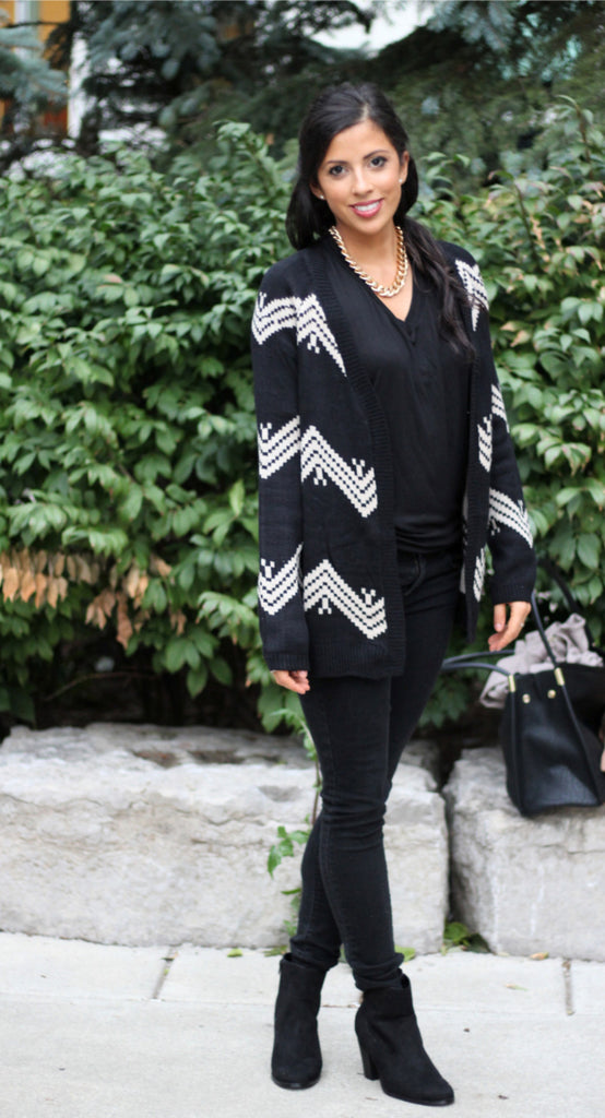 Geometric Patterned Cardigan - StyleBun