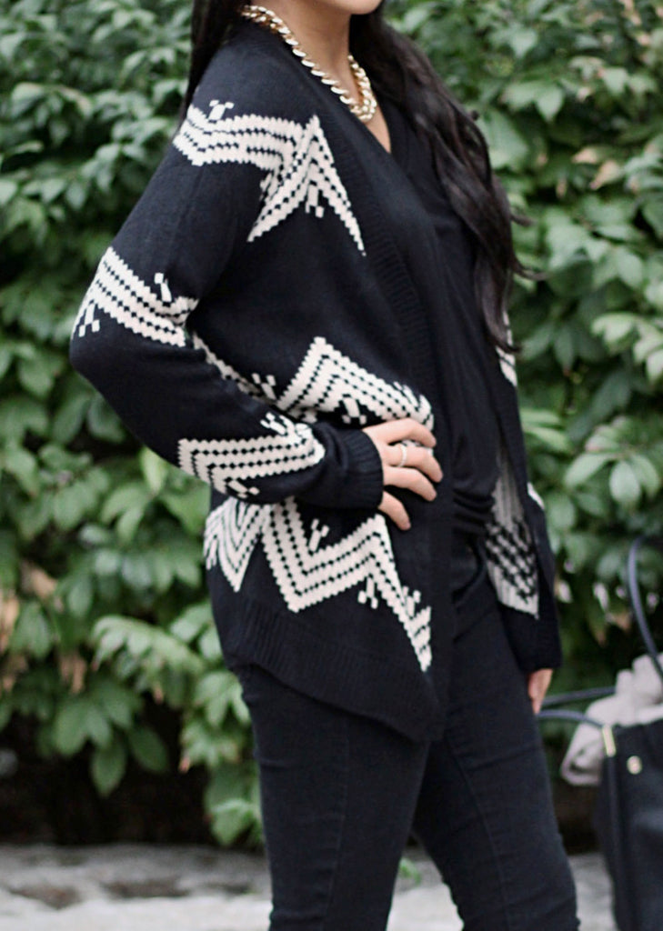 Geometric Patterned Cardigan