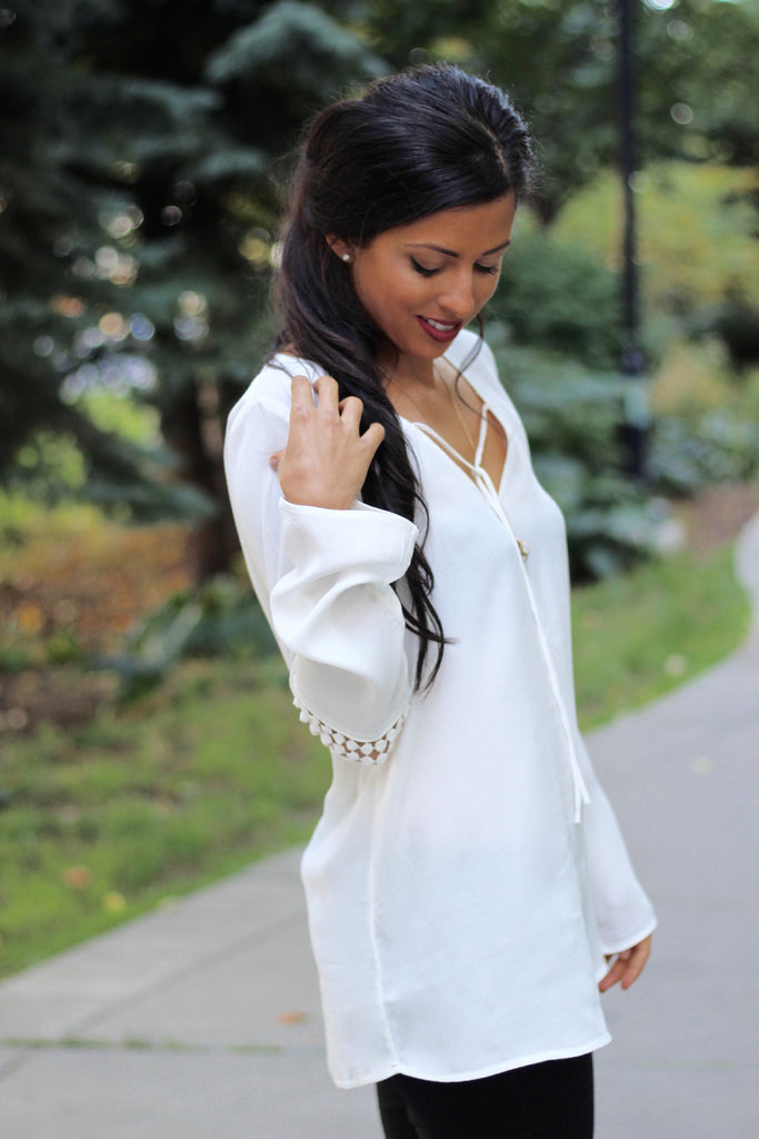 Simply White Long Sleeve Blouse - StyleBun
