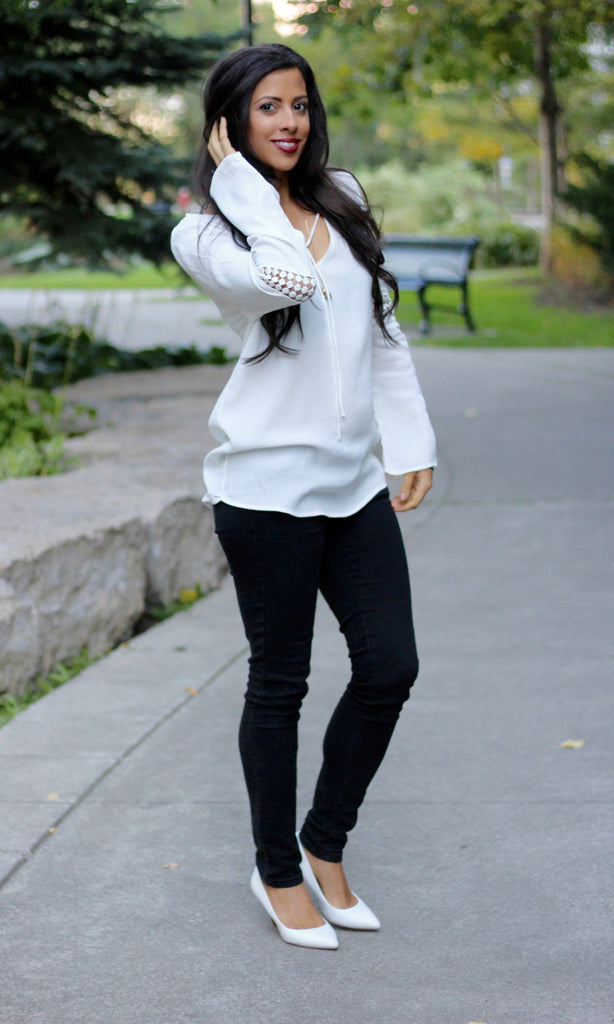 Simply White Long Sleeve Blouse