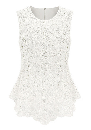 Lace Embroidered White Top - StyleBun