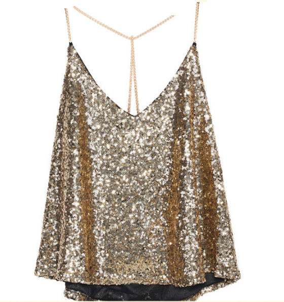 Gold Sequin Tank - StyleBun