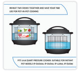 Stack N' Cook - Stackable Stainless Steel Pressure Cooker Steamer Insert Pans with Sling - Instant Pot in Pot Accessories